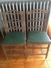 Fort Massac Vintage Folding Chairs Set Of Two Wood Frame Green Vinyl Seats