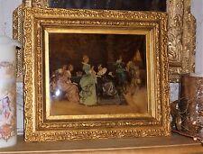 Tableau Peinture fixé sous verre bombé époque Napoleon III romantique XVIIIème