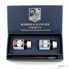 Rohrer & Klingner Calligraphy Set w/Glass Pen, Scabiosa + Salix Iron Gall Inks
