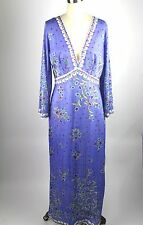 Emilio Pucci Vintage Purple Silk maxi dress floral for FORMTIF ROGERS sz M