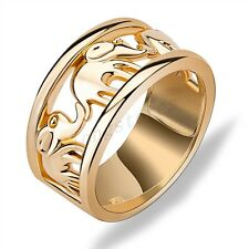 Lucky Elephant Ring Fashion Men/Womens Yellow Gold Filled Wedding Band Size 6-10