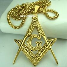 Mens 18k gold filled Freemasonry Masonic Mason Pendant Free chain necklace N275