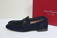 New sz 8 D SALVATORE FERRAGAMO Nilo Gancini Bit Blue Suede Loafer Men Shoes