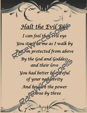 Chant to Protect Against the Evil Eye fr Wicca Spell Book of Shadows 1pg Poster