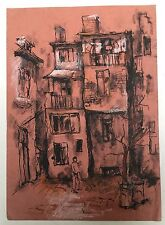 Painting - Tarnovo: European Dry Crayon Paper Painting City Landscape House
