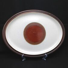 "Vtg Denby Potter's Wheel Brown Rust Red Dot 13"" Oval Serving Platter Plate Mod"