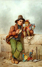 """perfact 24x36 oil painting""""Boy from a travelling circus with a monkey""""N5007"""
