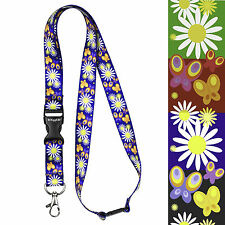 Daisy Lanyard neck straps for id badge holder with metal clip