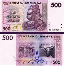 ZIMBABWE 500 DOLLARS 2007  UNCIRCULATED  P.70