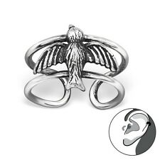 925 Sterling Silver Flying Bird Ear Cuff oxidized