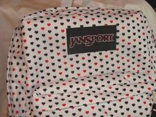 NWT JANSPORT WHITE W/RED & BLACK MINI HEARTS SUPERBREAK BACKPACK & TOTE BAG