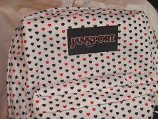 NWT JANSPORT WHITE W/RED & BLACK MINI HEARTS SUPERBREAK BACKPACK & TOTE BAG