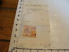 vintage TRAVEL paper: THE ANGEL HOTEL, Cardiff, Wales, receipt, 1951, w/stamp