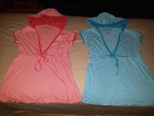LOT Of 2 Aeropostale Striped Hooded Babydoll Shirts Womens juniors SMALL S