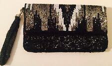 BN Women's Satin Beaded Foldover Zip Clutch / Evening Party Bag / Purse /Handbag