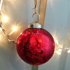 Red Round Mercury Crackle Glass Bauble, Vintage Style Christmas Tree Decoration