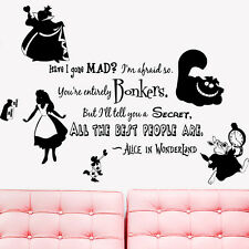 Wall Decal Vinyl Sticker Alice in Wonderland Rabbit Cat  Are you Mad here r1335