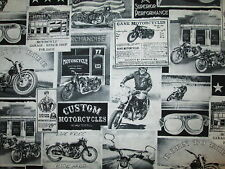 MOTORCYCLE CLASSIC BIKER VINTAGE ADS OVERALL COTTON FABRIC BTHY