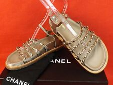 NIB CHANEL BEIGE LTH SATIN GOLD CHAINS CC LOGO GLADIATOR FLATS SANDALS 38.5
