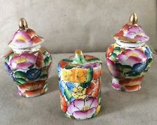 "Set of 3 Miniature Chinese Floral Porcelain Ginger Jars 3-3/4"" Tall"