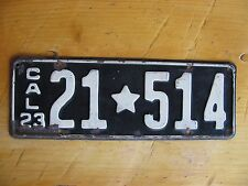 Vintage 1923 CALIFORNIA License Plate - 21 * 514 Star