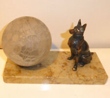 Vintage Art Deco German Shepherd Alsatian Dog Table Lamp Bronze Marble Base