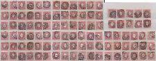 PORTUGAL 1870-1884 FINE USED 25R ROSE NUMERAL POSTMARKS 100 stamps cv £375++..L2