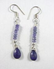 Jolies boucles d'oreilles perles tanzanite violette et saphir bleu Argent 925