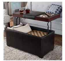 Lift Top Coffee Table Ottoman Seat Bench With Storage Faux Leather Espresso