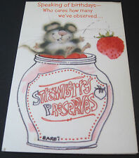 Used Vintage Greeting Card Cute Mouse in Strawberry Preserves Jar