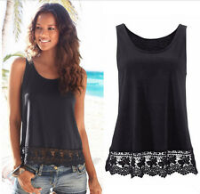 Fashion Women Summer Vest Top Sleeveless Lace Casual Tank Tops T-Shirt Blouse