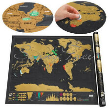 Travel Vacation Log Gift Scratch Off World Map Creative Poster Present Simple