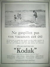 PUBLICITE DE PRESSE KODAK VEST POCKET PHOTO DE PLAGE FRENCH AD 1923