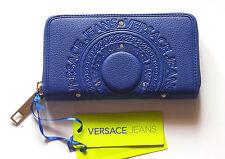 Portafoglio Donna Zip-around Blu Versace Jeans in cuoio con trama con un lieve difetto