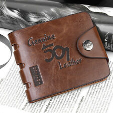 Men's Leather 501  ID credit Card holder Clutch Bifold Purse Wallet Pocket Retro