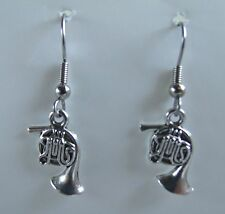 FRENCH HORN   EARRINGS  TIBET SILVER, EAR WIRE STAINLESS STEEL NEW UNUSED