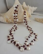 NEW WHITE DOUBLE STRAND COIN PEARL/BAROQUE PEARL AND GARNET CHIP NECKLACE 20""