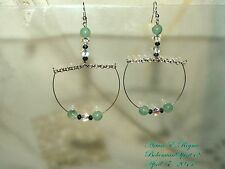 ARTISAN HANDCRAFTED NATURAL JADE CZECH GLASS BEADS PIERCED EARRINGS
