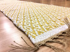 YELLOW DIAMOND DES. Handmade Cotton REVERSIBLE Washable RUG RUNNER 70x200cm -40%