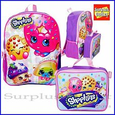 "Shopkins 16"" Large School  Backpack with Detachable  Lunch Bag 2 IN 1"