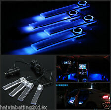 DC 12V 4x Blue LED Car Charge Glow Interior Floor Decorative Atmosphere Lights