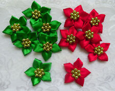 "1-1/4""(W) Christmas Green + Red Satin Ribbon Flower w/Golden Beads-12pcs-R0081GR"