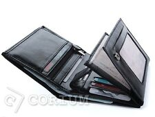 MENS LEATHER WALLET CORIUM BIFOLD CREDIT CARD WALLETS BLACK PHOTO HOLDER CORIUM