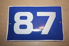VINTAGE ENAMEL Number  PORCELAIN TIN SIGN Plate HOME / HOUSE DOOR NUMBER 87