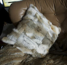 Gorgeous Natural Soft Brown & White 45 cm Square Rabbit Fur Cushion Cover