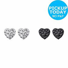Sterling Silver Black and White Crystal Heart Stud Earrings -From Argos on ebay