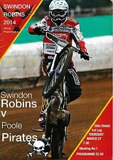Speedway programa > Swindon Robins V Poole Pirates Mar 2014