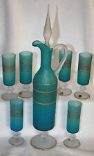 Venetian Italian Frosted Aqua Blue Gold Trimmed Glass Cordial Set