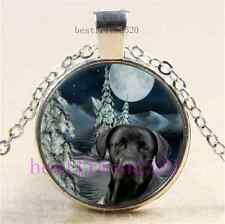 Christmas Black Dog Photo Cabochon Glass  Tibet Silver Pendant Necklace