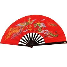 DRAGON PHOENIX BAMBOO WOOD RED FAN Kung Fu Tai Chi Martial Arts Hand Wushu